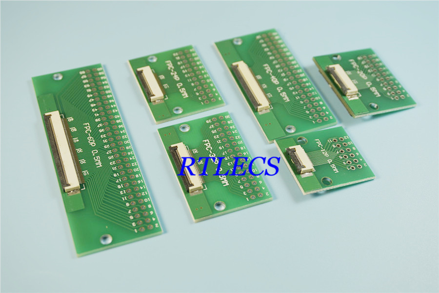24-Pin FPC Connector to DIP Breakout Board 0.5mm 1mm Pitch Pack of 3
