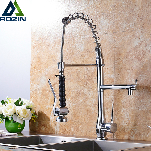 Single Handle Spring Pull Down Kitchen Faucet Deck Mounted Two ...