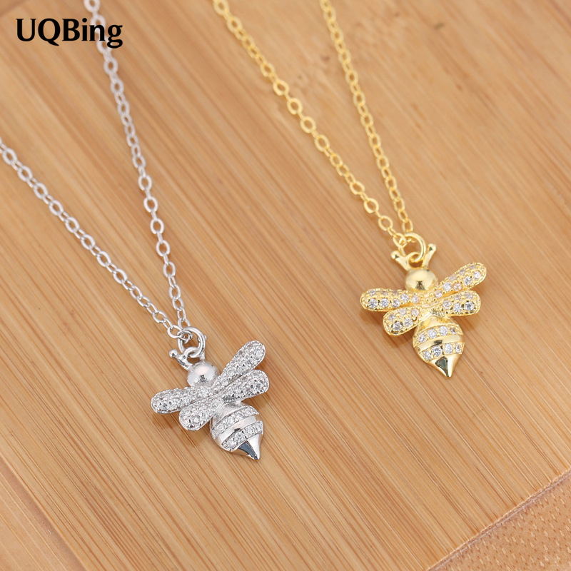925 Sterling Silver Crystal Rhinestone Bee Pendants&Necklaces Pure Sterling Silver 925 Chain Necklace Jewelry gw jewelry 925 silver foot chain butterfly and flower girl pink anklet chain 925 pure real silver anklet ac002h20