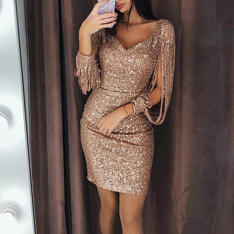 2019 Women Fashion Elegant Cocktail Shiny Sparkly Bodycon Sexy Mini Dress Tassels Detail Slit Sleeve Sequin Party Dress