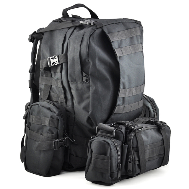 5270ea83bff1 50 L 3 Day Assault Tactical Outdoor Military Rucksacks Backpack Camping bag  - Black