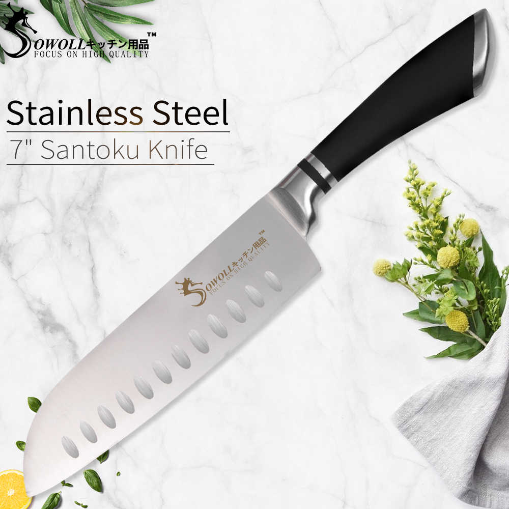 SOWOLL Stainless Steel Knife 7 inch Japanese Chef Knife Santoku Kitchen Knife Professional Meat Cleaver Kitchen Cooking Tools