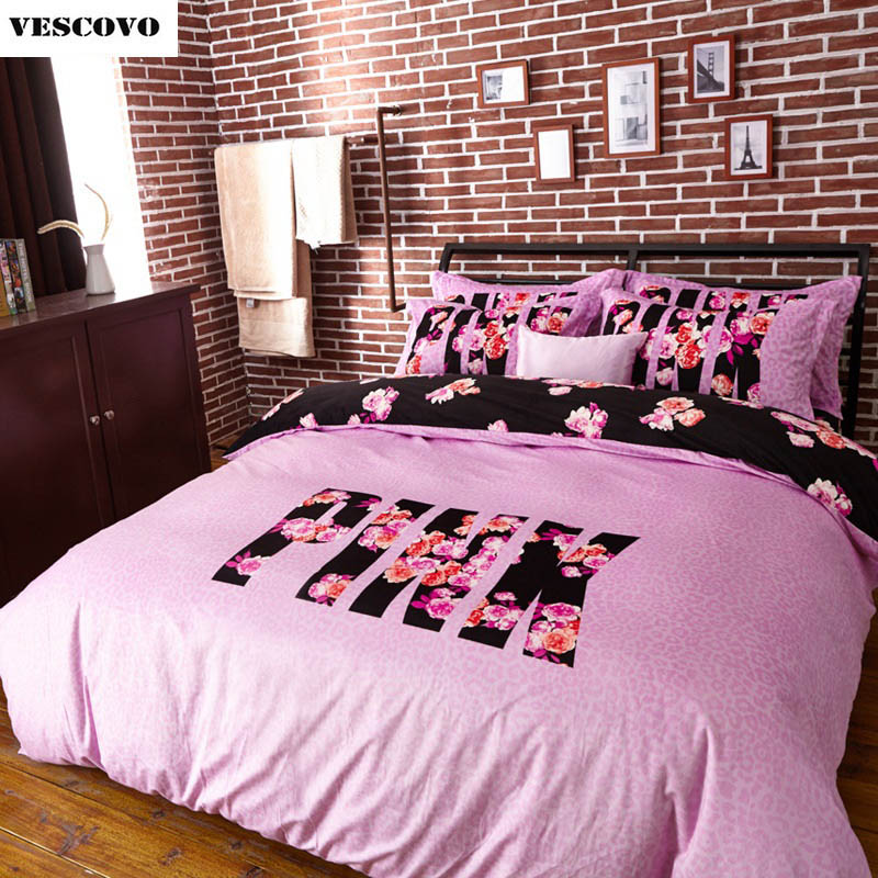 VS Pink Bedding Set 4 Pieces Duvet Cover Set Pillowcase Home Wedding Decoration Queen size