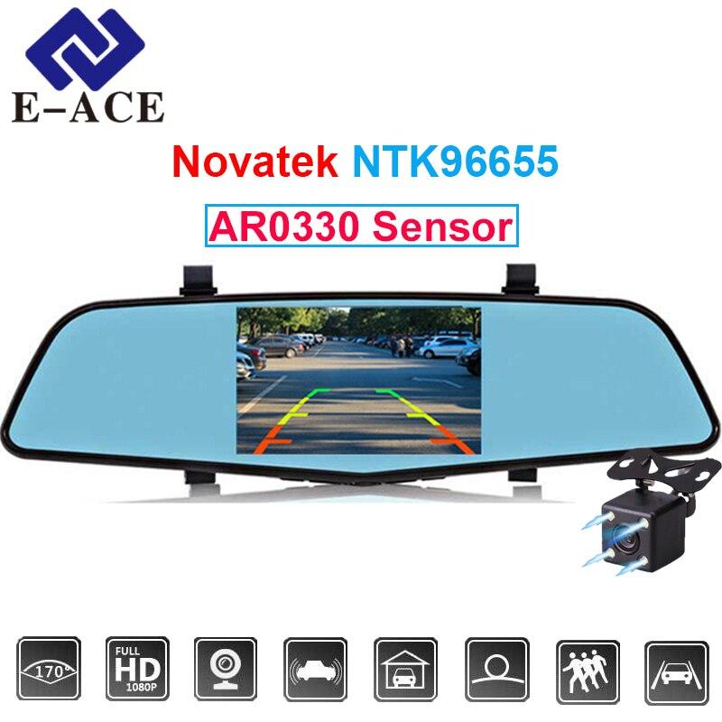 E-ACE 4.5 pollice Novatek 96655 Sensor Cancelliere Video Recorder Full HD 1080 p Auto Dvr Con Due Telecamere Specchio Automotive dash Cam
