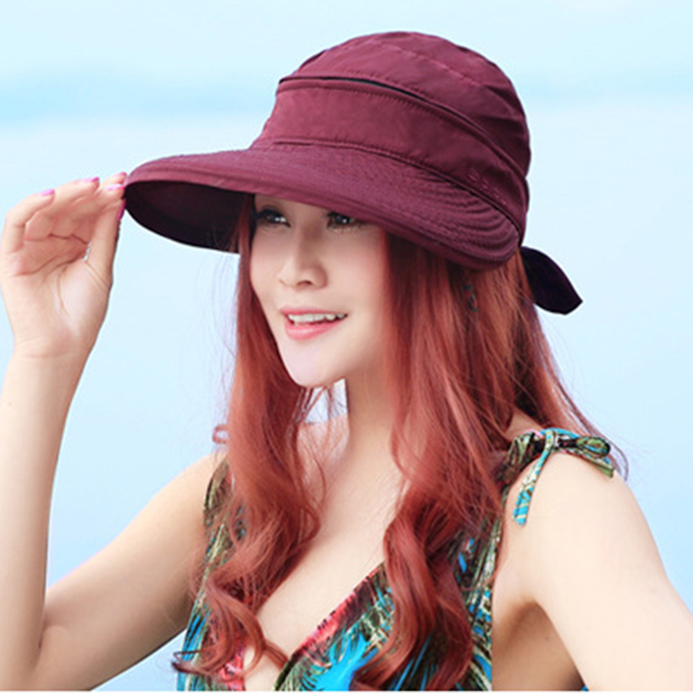 Summer Visors Fashion Korean Style Solid Foldable Cap Practical Ladies Travel Beach Hiking Sun Hat Bowknot Outdoor