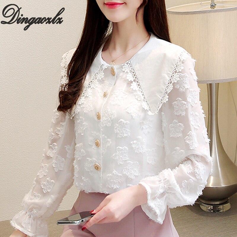 Dingaozlz White   blouse   New fashion lace   blouse     shirt   Doll Collar Flare Sleeve Casual Chiffon Tops