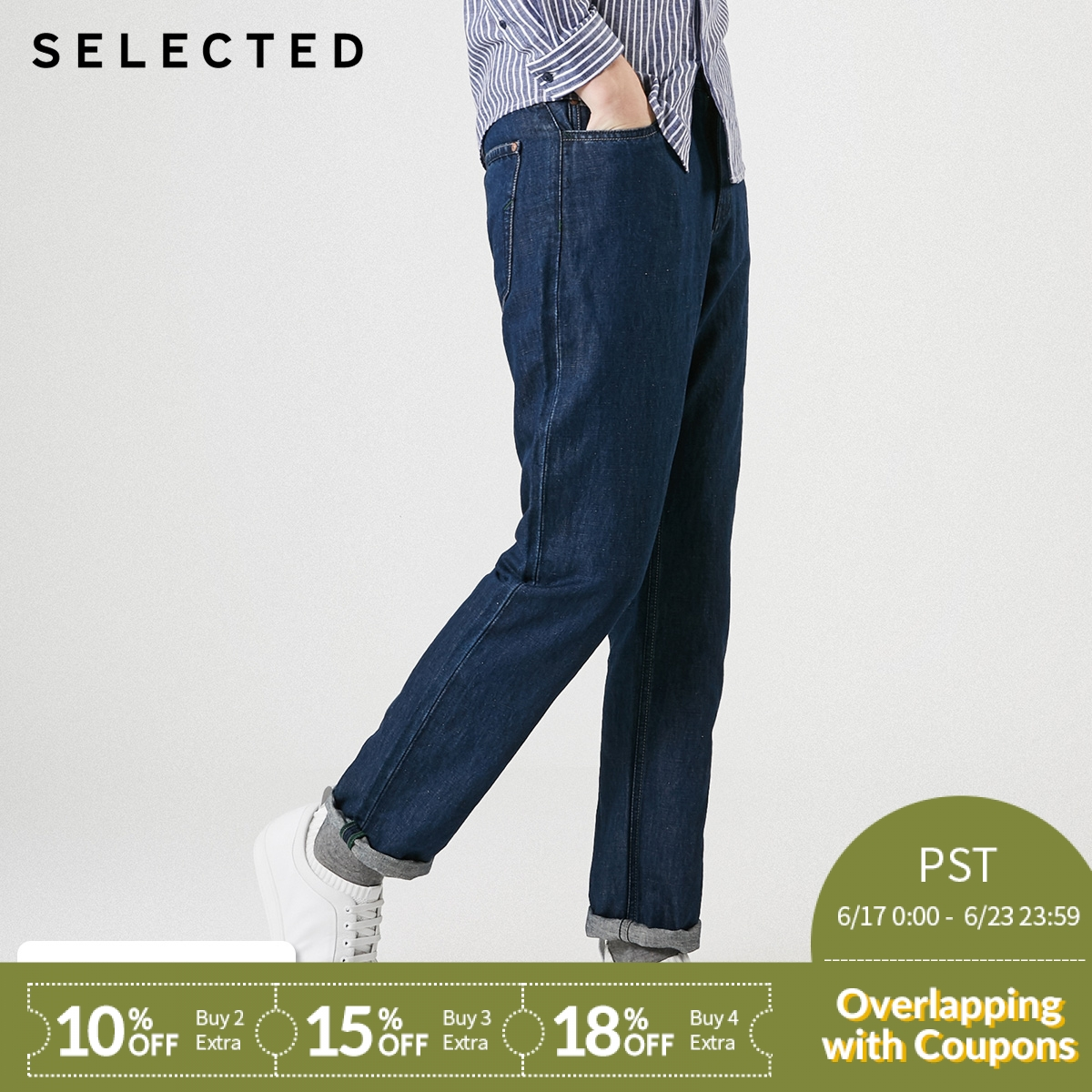 SELECTED Men's Spring Cotton and Linen Straight Fit Regular Fit Washed   Jeans   C|419132545