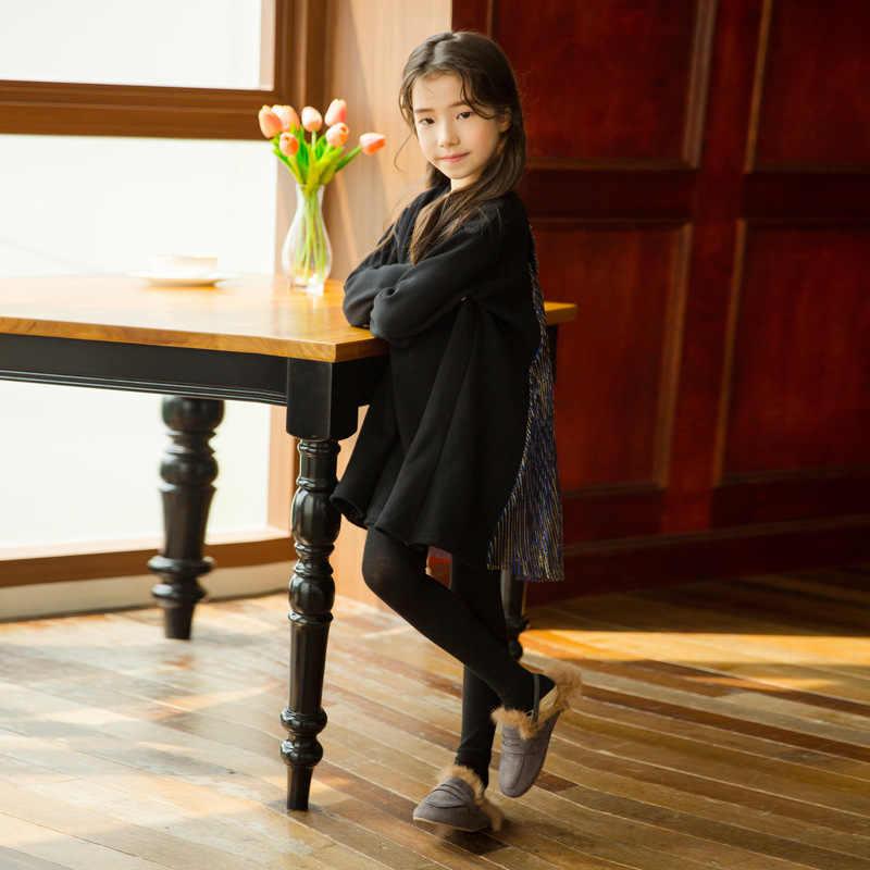 שחור אלגנטי תחרה נסיכת תלבושות בציר אצילי שמלת עבור 4-14 yrs נערות נשף ארוך שרוול שמלות חורף ילדי בגדים