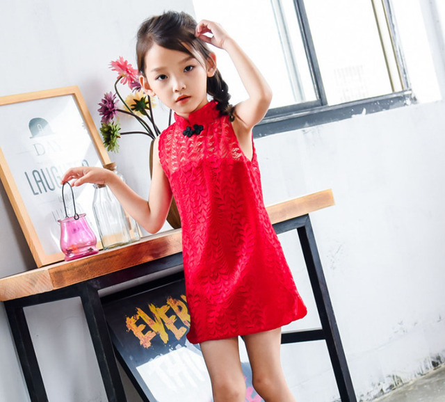 3fb2d3d5d Baby Girls Summer Dress Chinese Style Lace Hollow Vest Wedding Birthday  Party Dress For Girls Children Clothing Cheongsam