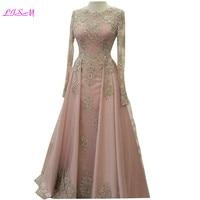 Одежда с длинным рукавом платья для выпускного вечера с Кружева Аппликация из бисера Вечерние Платье 2018 Тюль элегантное розовое платье под