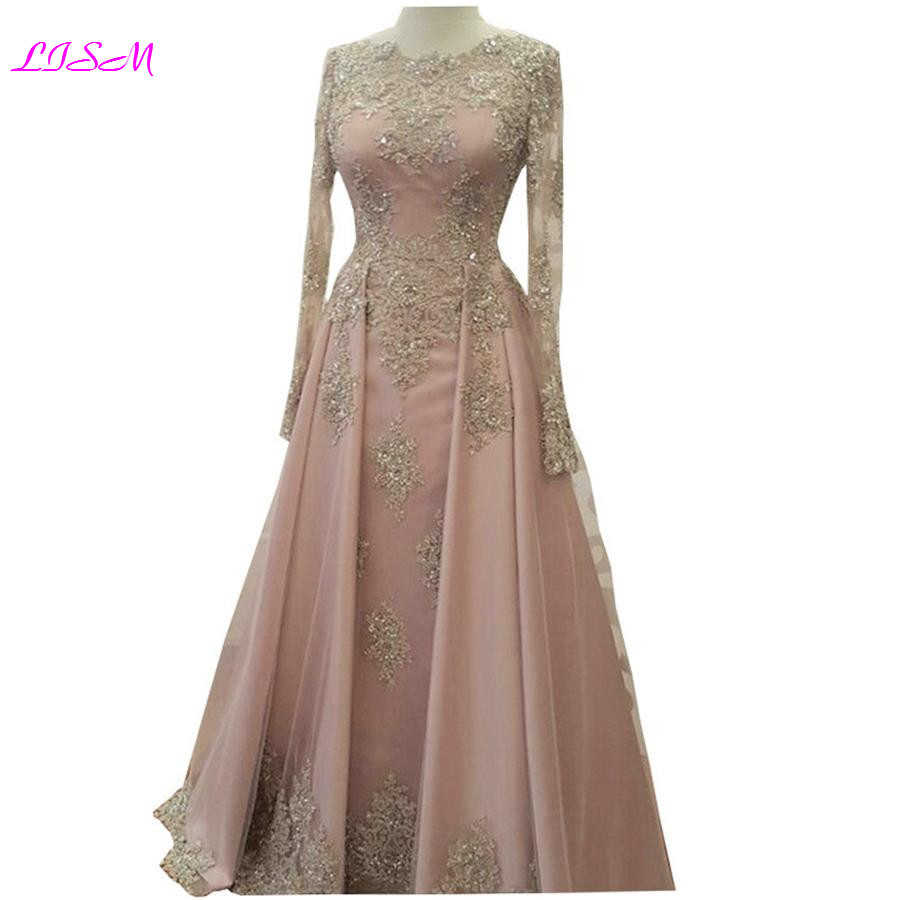 Elegant Gold Lace Appliqued Long   Prom     Dresses   O-Neck Beaded Crystal Long Sleeve Evening   Dress   Blush Pink Tulle Formal Party Gown