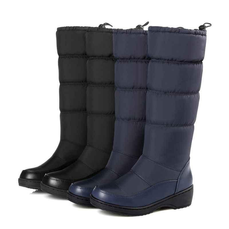 MEMUNIA 2019 YENI moda sıcak kar botları kadın yuvarlak ayak pu deri sıcak aşağı diz yüksek çizmeler kalın kürk bayanlar kışlık botlar