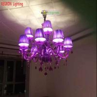 Regron фиолетовые люстры 18 Arm фиолетовая хрустальная люстра большие подвесные светильники для гостиной, церкви, банкетной виллы