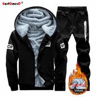 Gustomerd 2016 Warm Winter Plus Velvet Sport Suit Men Hooded Sweatshirt Men Thickening Mens Hoodies And