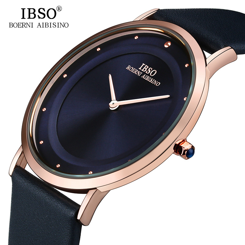 2017 IBSO 7MM Ultra thin Mens Watches Top Brand Luxury Genuine Leather Strap Fashion Casual Quartz