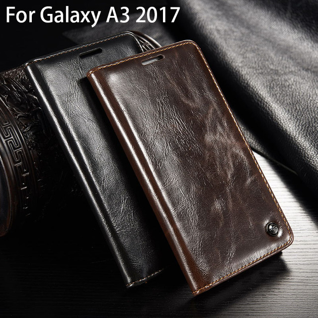 brand new 8a130 0e371 US $7.99 20% OFF|Flip Leather Case For Samsung A3 2017 Hoesje Phone Case  For Samsung Galaxy A3 2017 sm A320f Wallet Case Genuine Leather Holster-in  ...