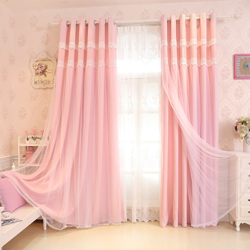GIGIZAZA Classic Tulle+Black Out Double Curtains with Leaves Tassel ...