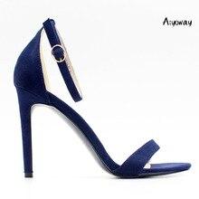 Aiyoway Elegant Women Ladies Peep Toe High Heel Sandals Cover Ankle Buckle Summer Spring Dress Shoes Purple & Dark Blue