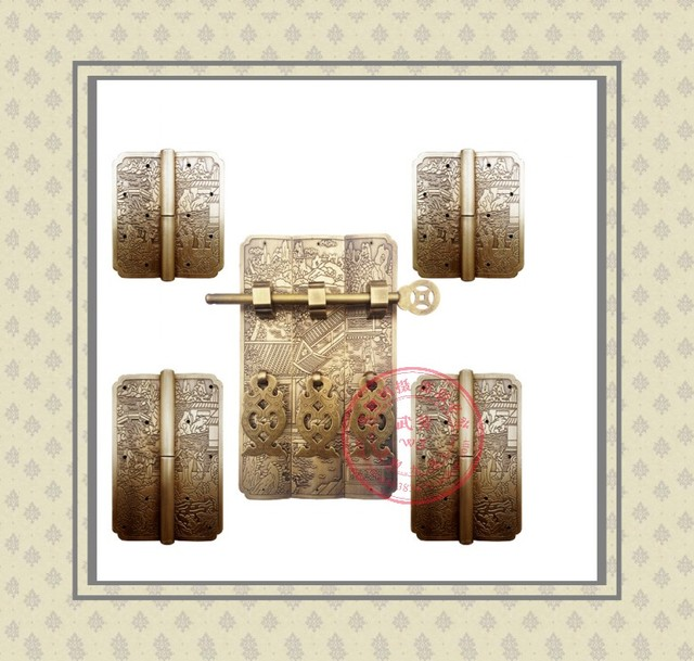 2017 Bisagras 2014new Retro Muebles Antiguos Chinos de la Dinastía Ming Y Qing Tallada Estantería Armario Accesorios de Cobre Bisagra Manejar