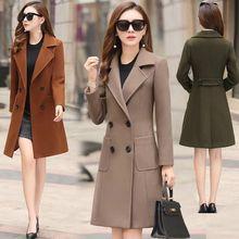 SWYIVY Woman Long Wool Coat Winter Coats 2019 Woolen Ladies Elegant Women Slim Double-Breasted Outerwear
