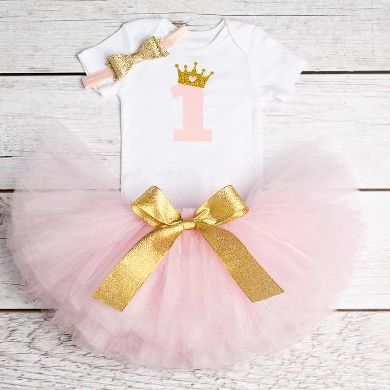 8ae2e2571eae Newborn Baby First Birthday 3pcs Outfits Romper+tutu+cute Headband Clothing  Sets Infants Gown