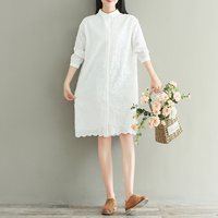 Japan Mori Girl Style Dress 2018 Spring New Women Sweet Lovely Lolita White Color Embroidery Hollow