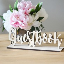 1pc New Cute Wooden Guestbook Sign Wedding Decor Freestanding Sign Decoration DIY Gift Wood Color Fashion 2018(China)