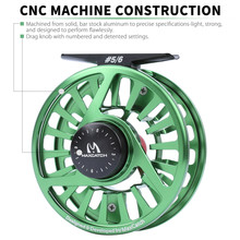 Maximumcatch 3-8WT Green Color Fly Reel Machined Aluminium Micro Adjusting Drag Fly Fishing Reel with Teflon disc drag system