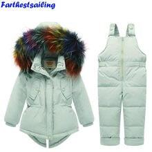 731ca133d338b Vêtements d hiver pour enfants veste de costume fille-30 degrés russe  garçons Ski Sports doudoune + combinaison ensembles salope.