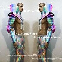 M01 Muscle armor men robot suit dj mirror clothing ballroom dance costume stage wears outfits colorful laser dress catwalk vest