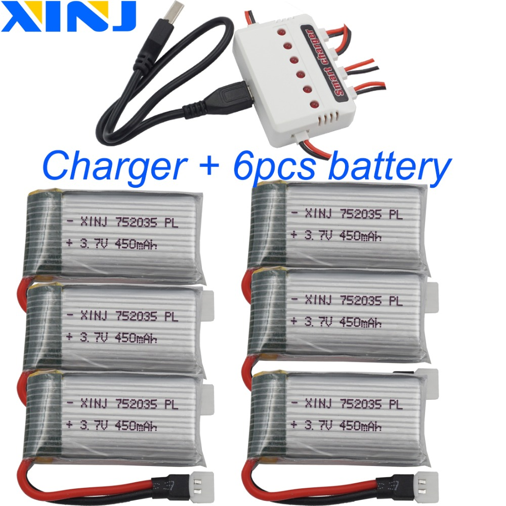XINJ 6pcs+charger <font><b>3.7V</b></font> <font><b>450mAh</b></font> 25C Li lithium polymer battery lipo cell 752035 for DFD F182 F183 H8C X4H1007 RC Quadcopter Drone image