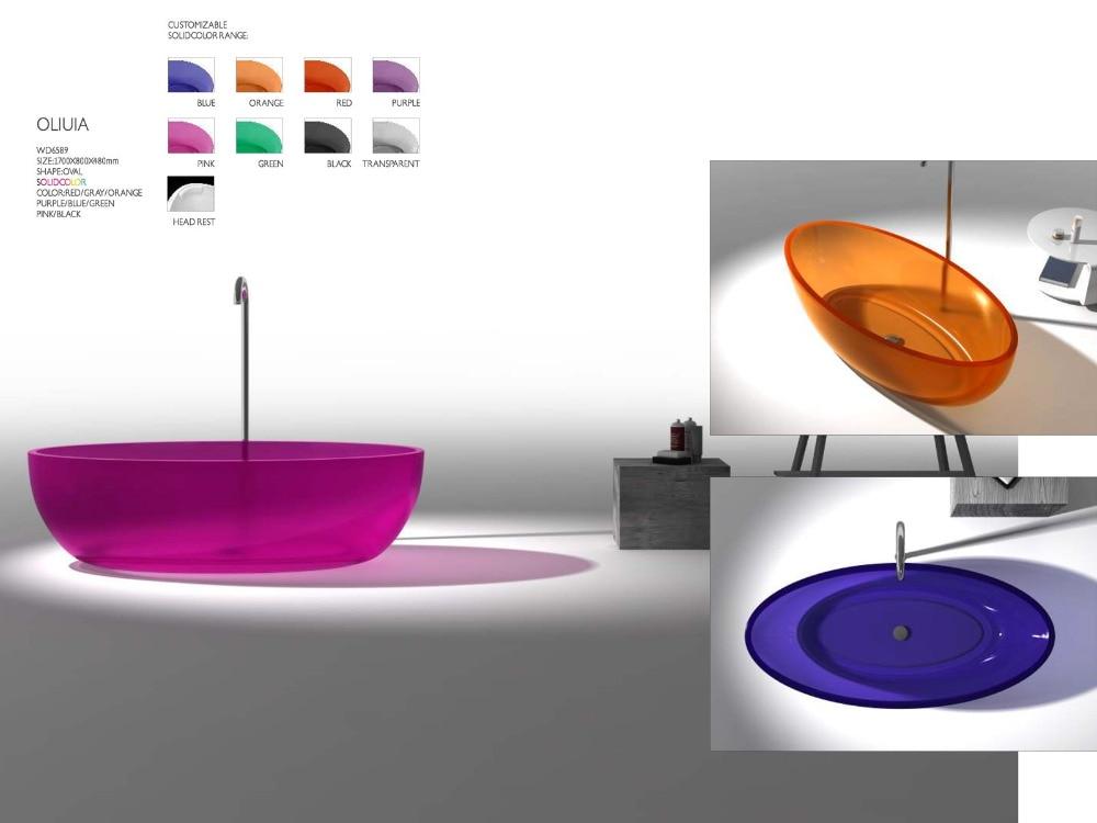 1700x800x480mm Novo Design Cor Sólida Free Standing Banheira Oval Forma RS6589-1-3