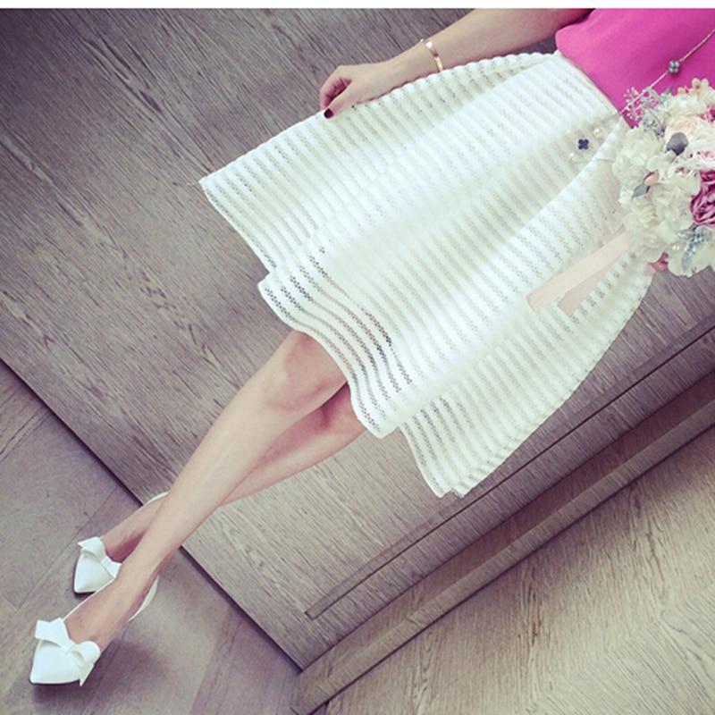 ea28d789 2017 Lato New Style Sexy Moda Spódnica Kobiet Striped Hollow-out Puszyste  Długa Spódnica Spódnice Huśtawka Panie Czarny/biała Suknia Balowa