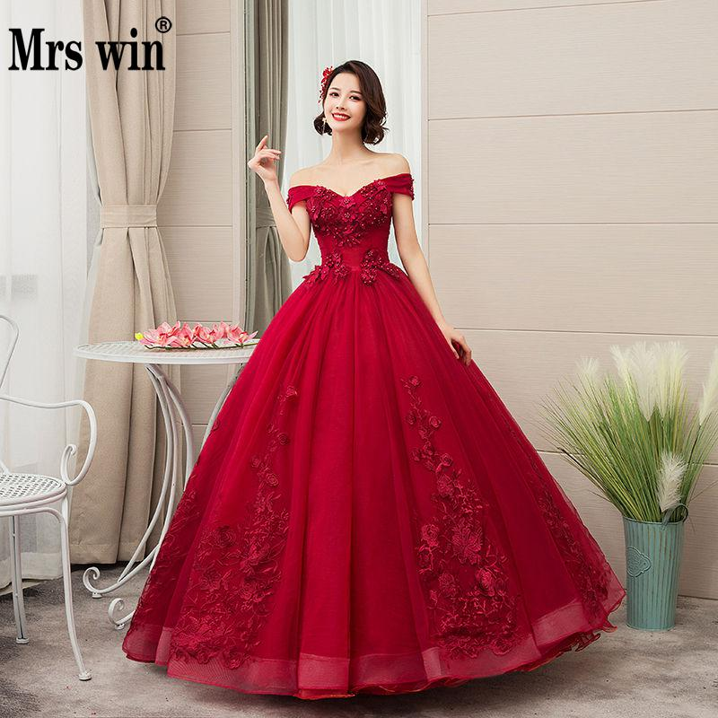 Us 6425 33 Off2019 New Mrs Win Off The Shoulder Luxury Lace Party Vestidos 15 Anos Vintage Quinceanera Dresses 4 Colors Quinceanera Gown F In
