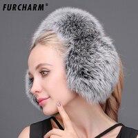 FURCHARM 100% Prawdziwe Futra Lisa Nauszniki dla Kobiety Ciepłe Zimowe naturalne Raccoon Fur Nauszniki Klapa dziewczyny Prawdziwe Futro Pluszowe Ucha Muff