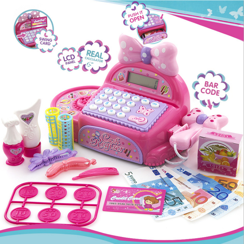 New Pink Kids Supermarket Cash Register Electronic Toys With Foods Basket Money