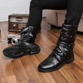 Fashion Men Ankle High Boots Men Pu Patent Leather Boot Male 2017 Punk Style Motorcycle Boots Shoes Winter Buckle Shoes Charm