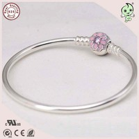 Newest Desgin Famous European Brand 925 Sterling Silver Bangle With Pink Enamel Silver Lotus Flower Clasp