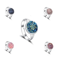 11 Colors Mermaid Scale Resin Drusy Druzy Ring Imitation Crystal Stone Silver Color Rings Adjustable Brand Jewelry for Women