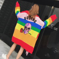 2017 Autumn Tide Brand Flower Skull Color Stripe Sweater Coat Female Autumn Long Sleeve Loose And