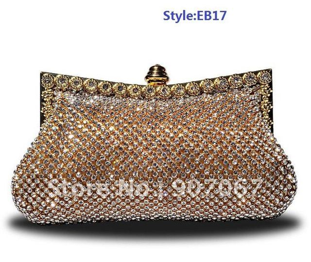 New listed ! Top quality Hot Gold/Silver Diamond Clutch Bags/Evening Bags/Party Bags