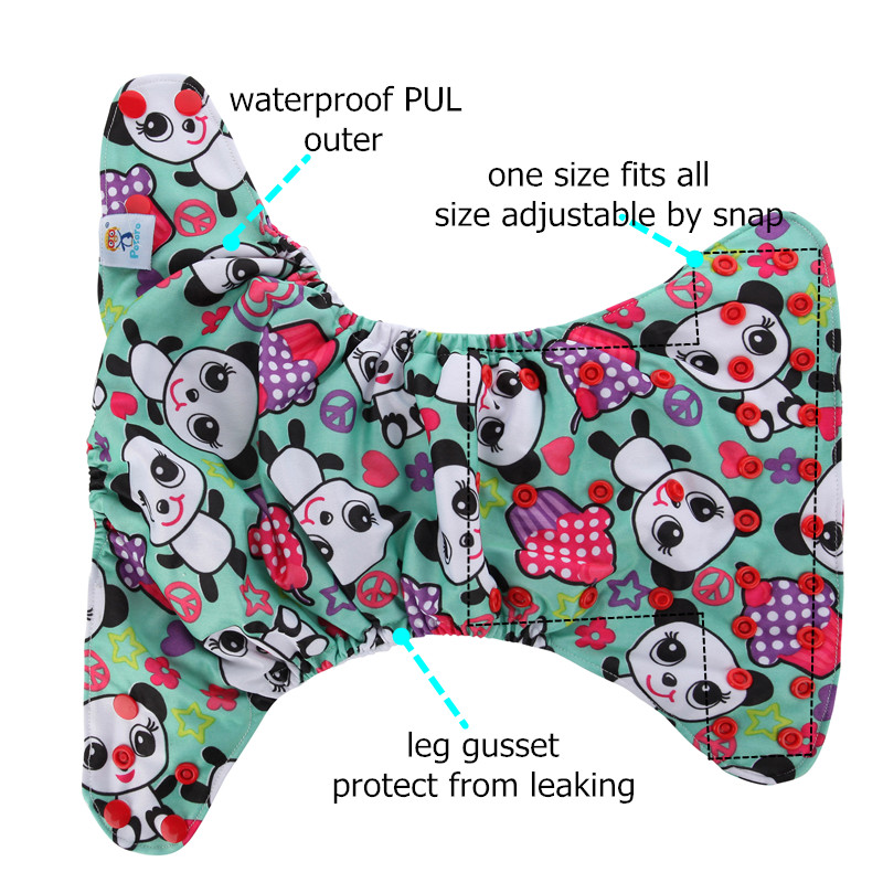 Baby Reusable Cloth Diaper Pocket Nappy Double Gusset AIO Cloth Diaper Cover One Size Nappy Cover Colorful Washable Diaper