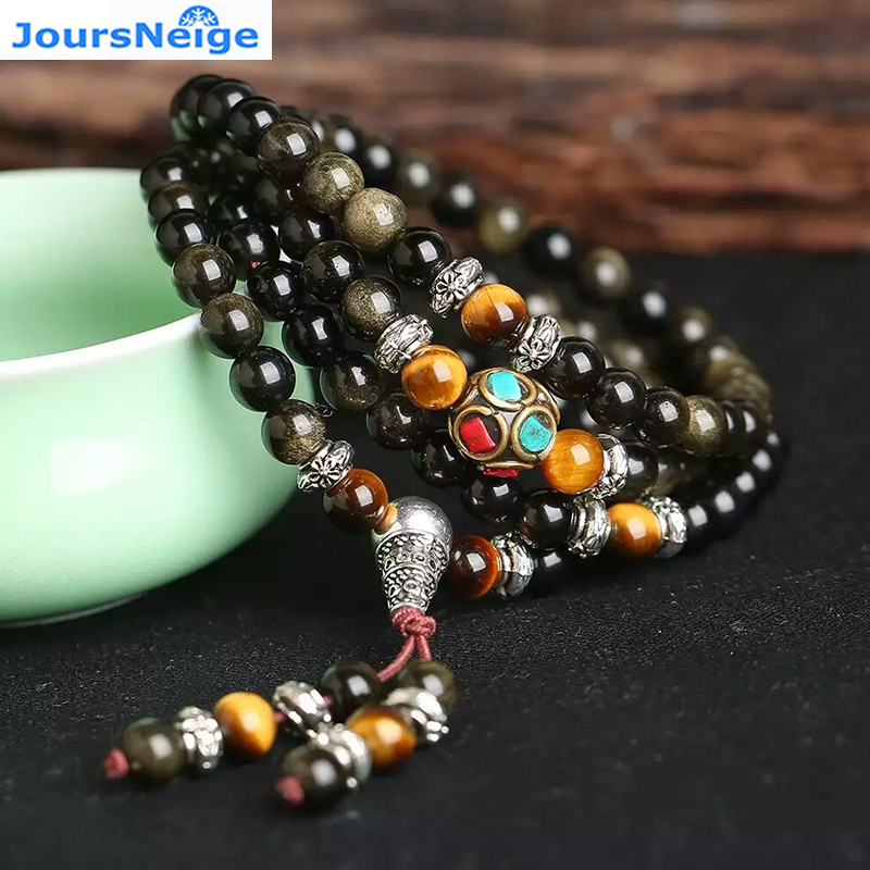 JoursNeige Natural Gold Obsidian Stone Bracelets 6mm 108 Beads with Tiger Eye Stone for Lover Men Women Crystal Bracelet Jewelry цена 2017