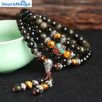 Joursneige ouro natural obsidian pedra pulseiras 6mm 108 contas com olho de tigre pedra para homens pulseira de cristal