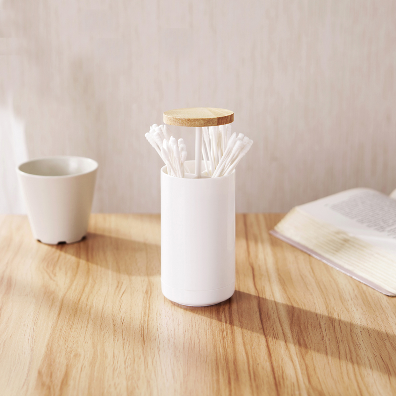 HS040 Home multifunctional Press type log covered cotton sticks toothpick box 6.5*6.5*11.5cm