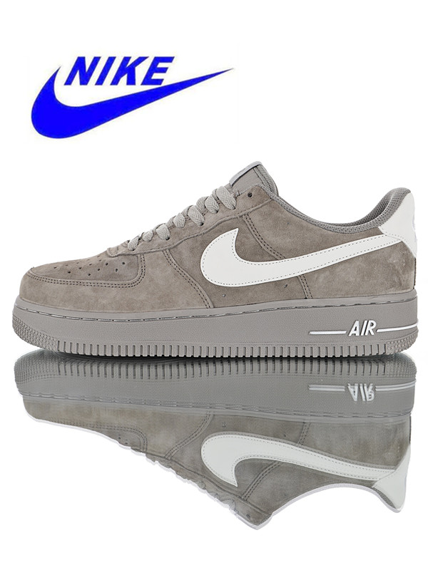Original Nike Air Force 1 07 Suede Men's Skateboarding Shoes, Grey,  Breathable Shock Absorption Non-slip AA1118-066
