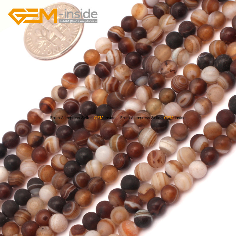 Natural Round Color Banded Matte Sardonyx Agates Beads For Jewelry Making DIY Jewellery Spacer 15inches FreeShipping Wholesale