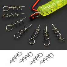 20Pcs Fishing Lures Fixed Hook Pin Latch Needle Soft Worms Fishing Bait Spring rompin 100pcs lot high carbon steel spring lock needle fix worms soft lures pin