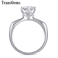 Transgems 14K White Gold 1ct 6.5mm F Color for Women Wedding Gift Ladies Moissanite Engagement Ring DailyWear Fine Jewelry