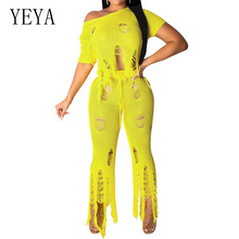YEYA Women Elegant Two Piece Sets Hollow Out Crochet Knitted Jumpsuit Sexy Short Sleeve Casual Hole Playsuit Beach Holiday Wear